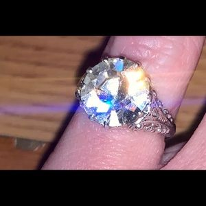 Silver cz engagement ring new